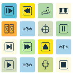 set of 16 audio icons includes note donate audio vector image