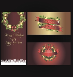 Set of three separated christmas banners vector image