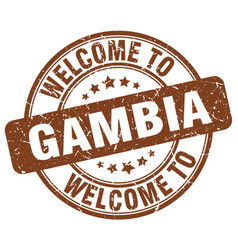 welcome to gambia brown round vintage stamp vector image vector image
