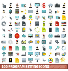 100 program setting icons set flat style vector