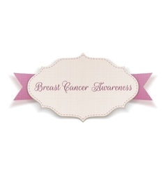 Breast Cancer Awareness Card with Ribbon vector image