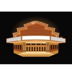 Brightly theater glowing retro cinema neon sign vector