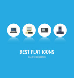 flat icon computer set of processor computer vector image vector image