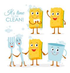set of smiling dish washing vector image vector image