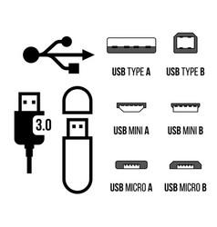 usb sockets icon vector image