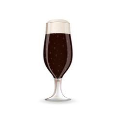 a glass of dark beer with foam vector image vector image