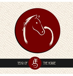 Chinese new year of the Horse red circle shape vector image vector image
