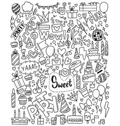 0090 hand drawn party doodle happy birthday vector