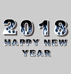 2018 happy new year flames style vector image