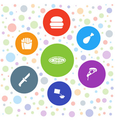 7 lunch icons vector image