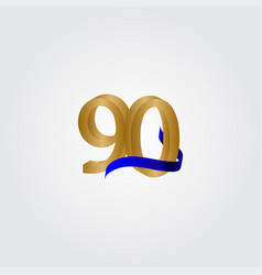 90 years anniversary celebration number gold vector
