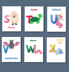 alphabet printable flashcards collection vector image