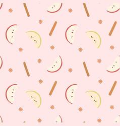 Apple and cinnamon pattern vector