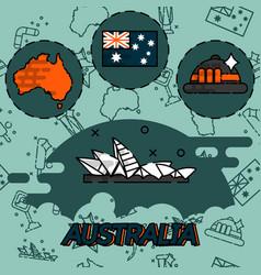 Australia flat concept icons vector