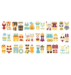 beach outfit sets clothing and accessories vector image