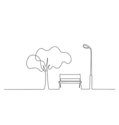 Bench in park near tree and lantern one line vector