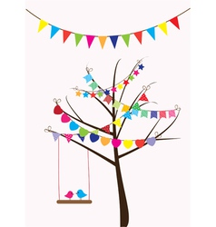 Bird swing tree vector
