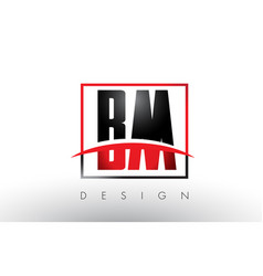 Bm b m logo letters with red and black colors and vector