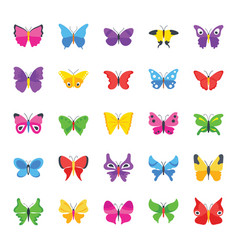 Butterfly common species flat icons vector