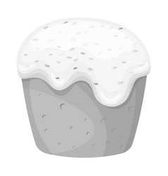 Cake with white fondant easter single icon in vector