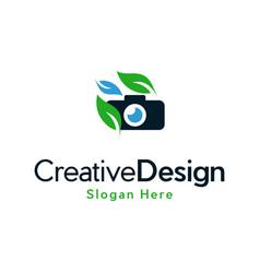 Camera pixel naturally creative modern logo vector