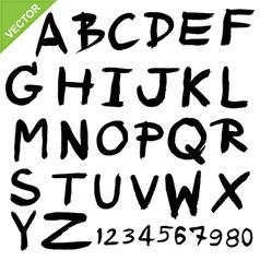 capital alphabet brush vector image
