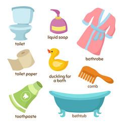 cartoon bathroom equipments toilet sink vector image