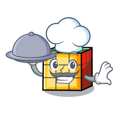 Chef with food rubik cube mascot cartoon vector