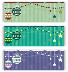 Christmas balls flyers set vector