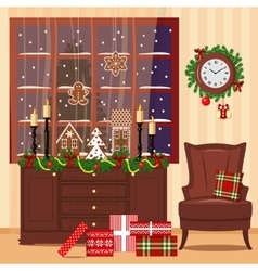 Christmas decorated room with armchair window vector