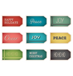 christmas holiday tags labels on white background vector image