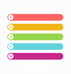 colorful five steps progress or ranking banners vector image