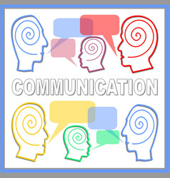 Communication banner with people heads line vector