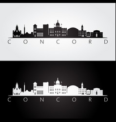 concord usa skyline and landmarks silhouette vector image