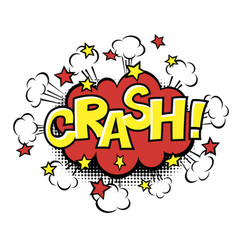 Crash phrase in speech bubble comic text bubble vector