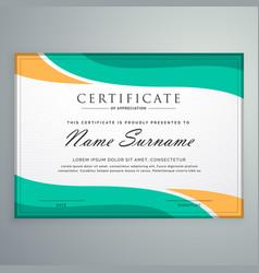Creative certificate appreciation with wavy vector