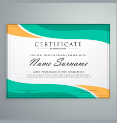 Creative certificate of appreciation with wavy vector