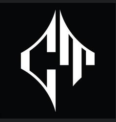 Ct logo monogram with diamond shape design vector