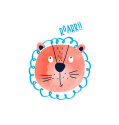 Cute lion print design with slogan vector