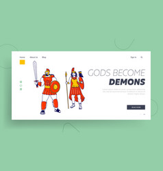 Deities characters landing page template pallas vector