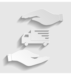 Delivery sign Paper style icon vector image