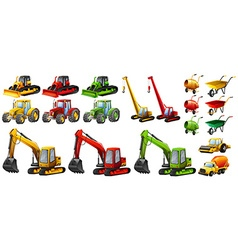 Different tractors and construction equipment vector