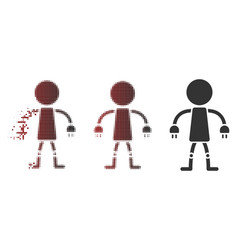 disappearing pixel halftone robot icon vector image