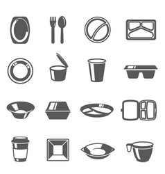 Disposable tableware plastic dishes icons set vector