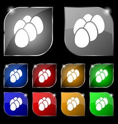 eggs icon sign Set of ten colorful buttons with vector image