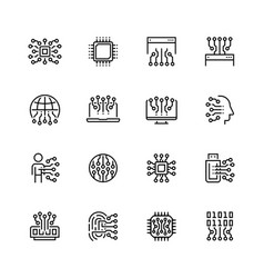 electronic circuit and chips icon set in thin vector image