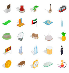 Exotic vacation spot icons set isometric style vector