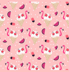 Flamingo ice cream seamless pattern vector