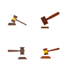 flat icon court set of justice hammer court and vector image
