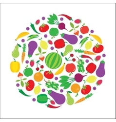 Fruit and vegetable circle background vector
